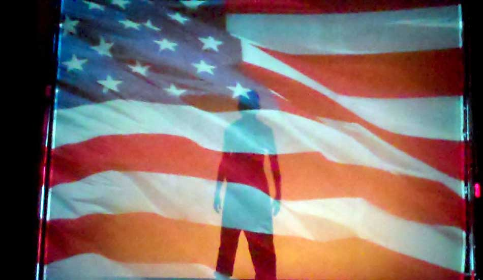 Silhouettes Shadow Dance Show with American Flag